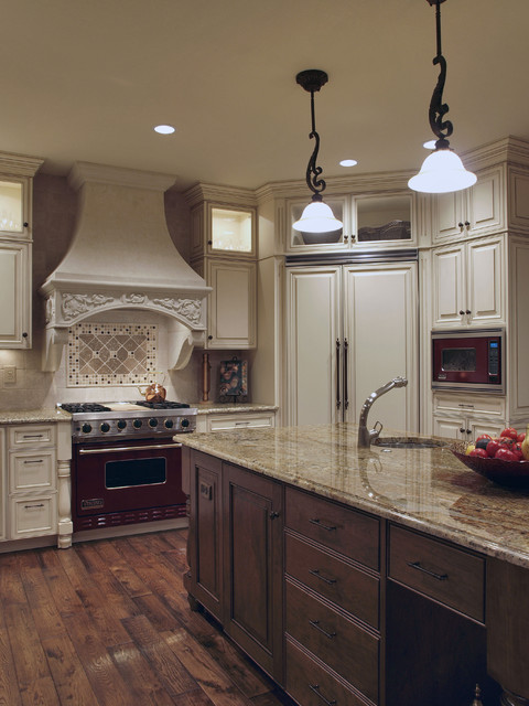 White Antique Look Old World Kitchen Traditional