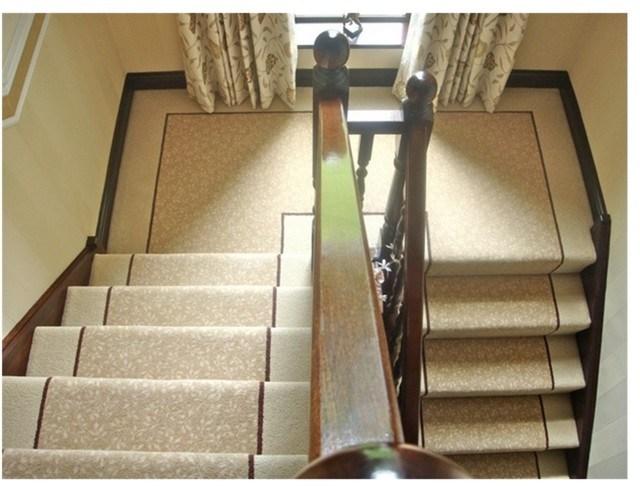 Stonegate Carpets Fully Fitted Stair Carpet With Custom Border And | Stair Carpet With Border | Stairway | Design | Stair Runner Matching Landing | Runner | Cream