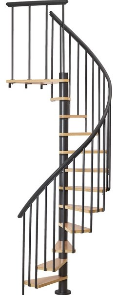 Dolle Calgary Black 47 Staircase With Extra Baluster | Dolle Calgary Spiral Staircase