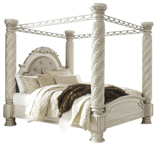Cassimore King Poster Canopy Bed Pearl Silver Victorian