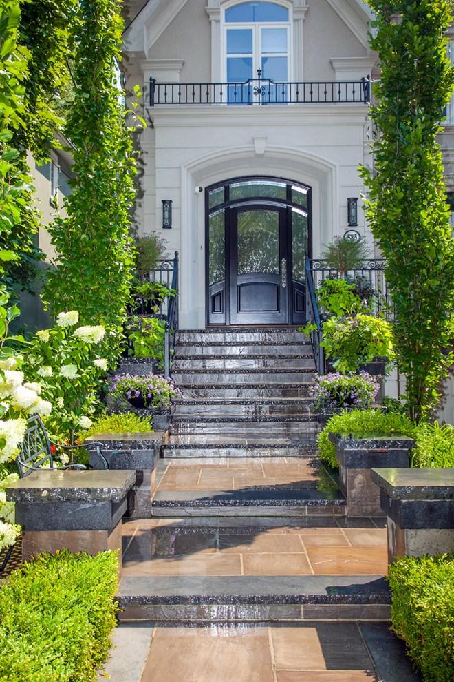 Toronto Landscaping Ideas Front Entrance With Steps | House Main Entrance Steps Design | Half Round | Landscape | Outside | Garden | Front Construction Area House