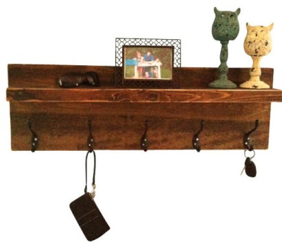 Rustic Entryway Shelf and Coat Rack   Rustic   Display And Wall     Rustic Entryway Shelf and Coat Rack  Weathered Gray