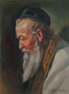 J Kertesz Old Man Oil Painting Traditional