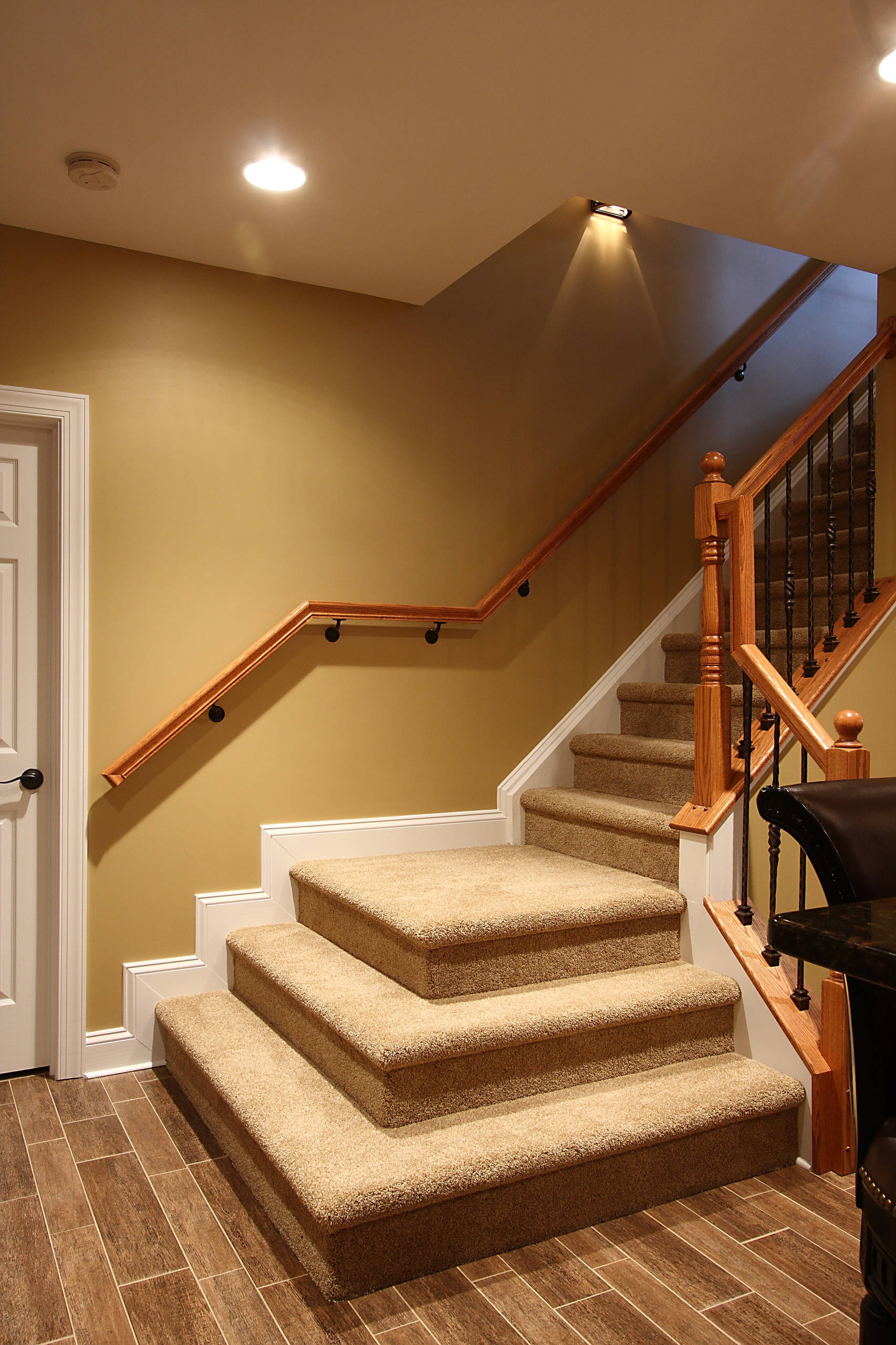Basement Stairs Houzz | Stairs Leading To Basement | Beautiful | Painted | Unfinished Basement | Metal | Basement Peaked Roof