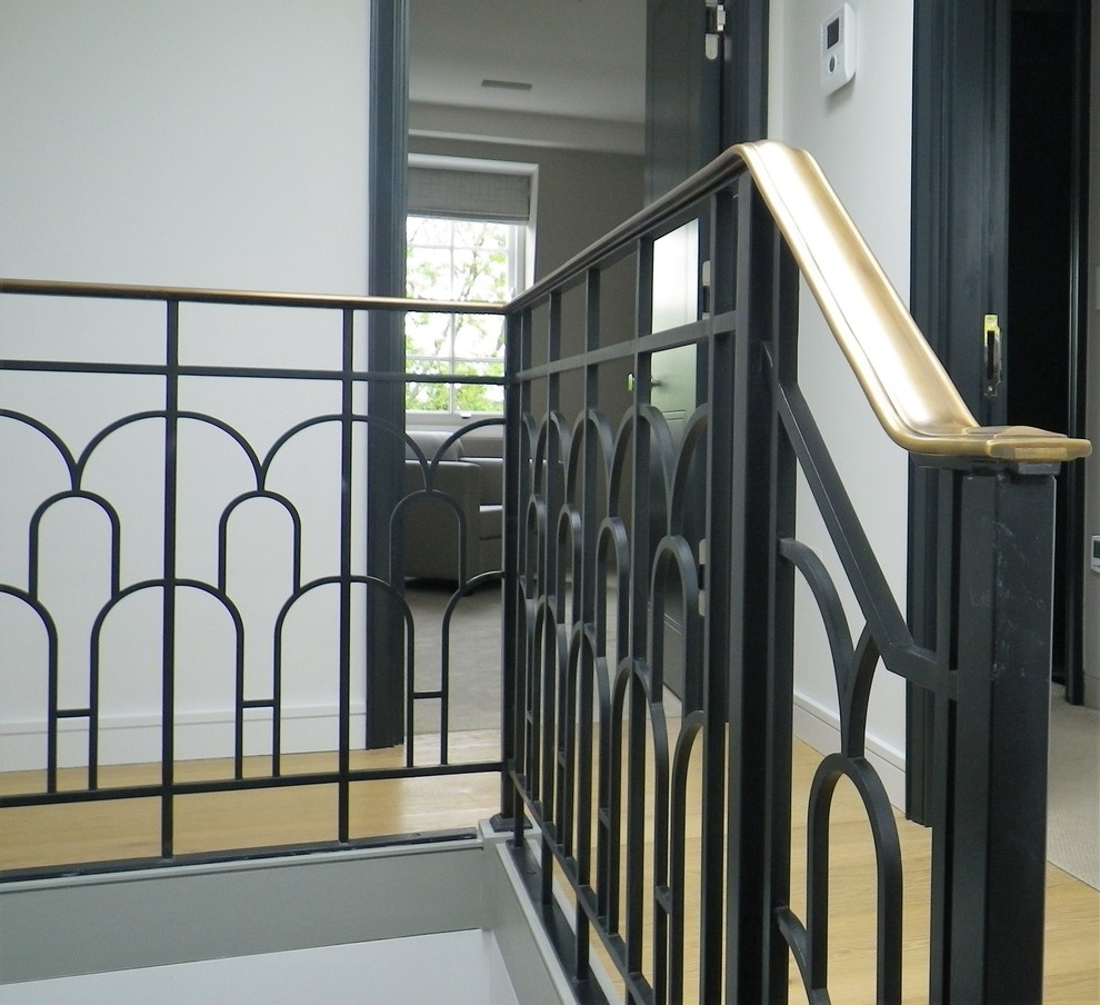 Bespoke Art Deco Style Balustrade With Brass Handrail | Brass Handrails For Stairs | Aluminum | Classic | Medallion | Cantilevered Spiral Stair | Wrought Iron Railing