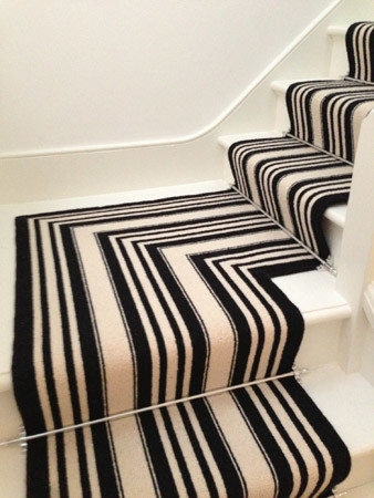 Black And White Striped Stair Carpet Runner Contemporary | Black And White Stair Carpet | Entry Hall | Square Pattern | Luxurious | American Style | Small Space