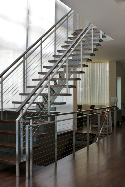 Cable Rail Modern Staircase Chicago By Iron Wire Llc | Modern Cable Stair Railing | Entry Foyer | Staircase Remodel | Stair Treads | Glass Railing | Deck Railing