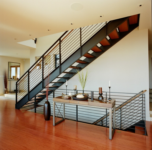 City View Residence Contemporary Staircase Seattle By | Metal Staircases For Homes | Beam | Stainless Steel | Support | Statement | Metallic