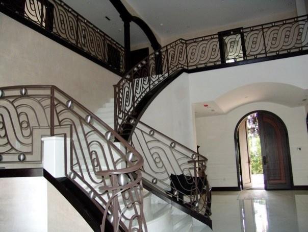 Contemporary Wrought Iron Railings Houzz   Stair Railing Design Modern   Exterior Irregular Stair   Luxury   Round   Interior   Handrail
