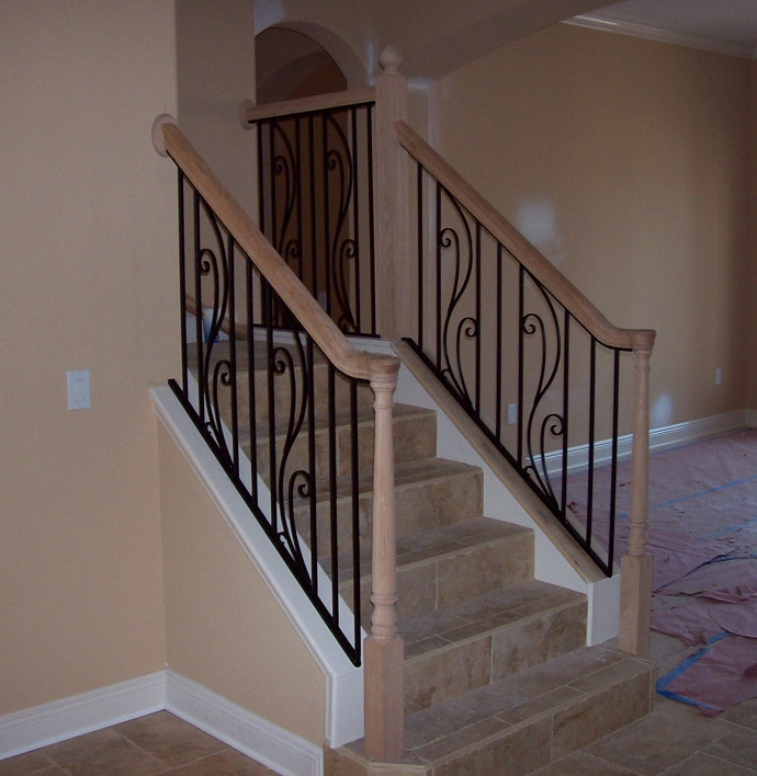 Custom Wrought Iron Steel Stair Rail With Spring Flower Design And | Wrought Iron And Wood Stair Railing | Decorative | Iron Rail | Stairway | Wood Cap | Hand