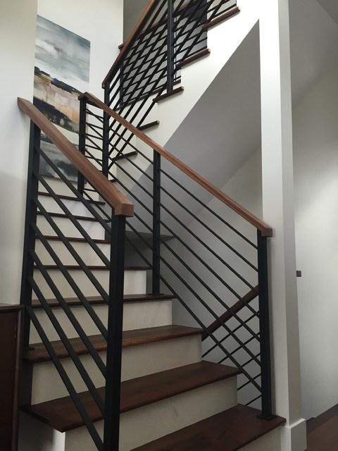 Horizontal Black Flat Bar Railing Contemporary Staircase | Black Horizontal Stair Railing | Room | Split Entry | Steel | Modern | Metal