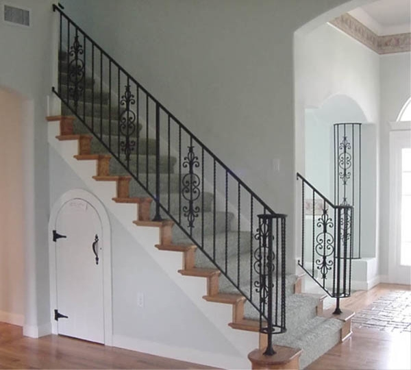 Interior Wrought Iron Stair Railing Ideas Photos Houzz | Iron Stair Railing Cost | Wrought Iron Balusters | Deck | Stair Parts | Banister | Stair Treads
