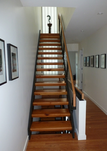 Lantern House Reclaimed Wood Stairs Contemporary Staircase   Wood Stairs In House   Reclaimed Wood   Natural Wood   Residential   Minimalist   Basement