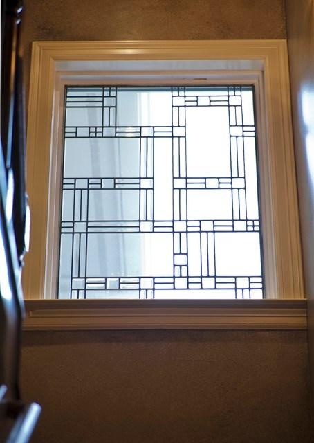 Leaded Glass Window Eclectic Staircase Houston By Collinas | Window Design For Stairs | Stylish | House Box Window | U Shaped | Big Window | Luxury Window