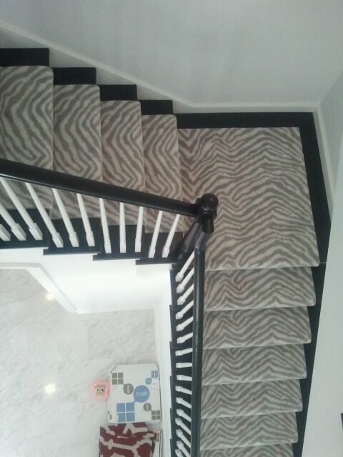 Masland Animal Print Contemporary Staircase Chicago By   Zebra Print Stair Carpet   Staircase Remodel   Ideas   Stair Treads   Leopard Print   Carpet Runner