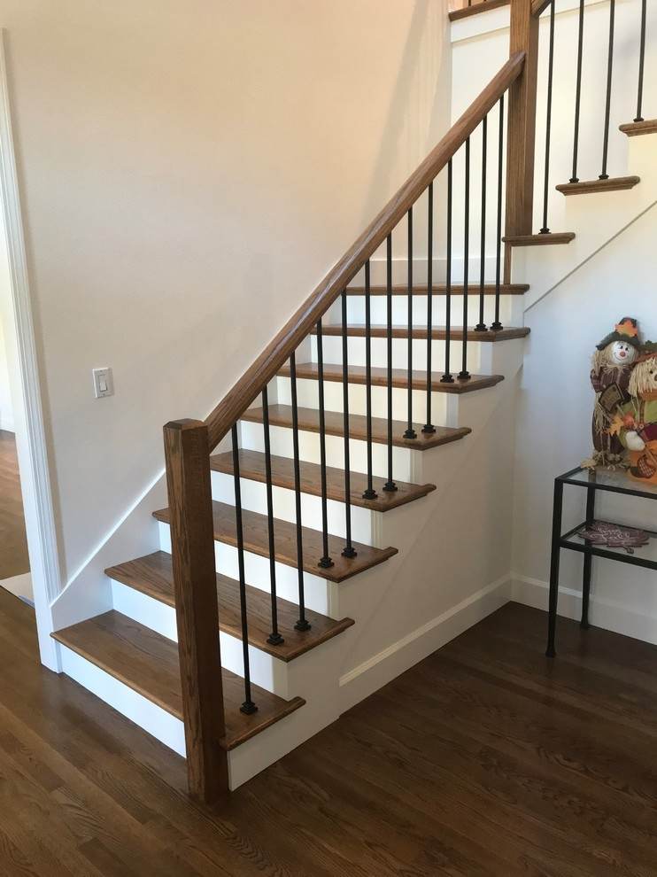 Modern Stair Upgrade Midcentury Staircase Portland By | Mid Century Modern Stair Handrail | Vertical | Decorative | Fixer Up | Living Room | Contemporary Curved Staircase