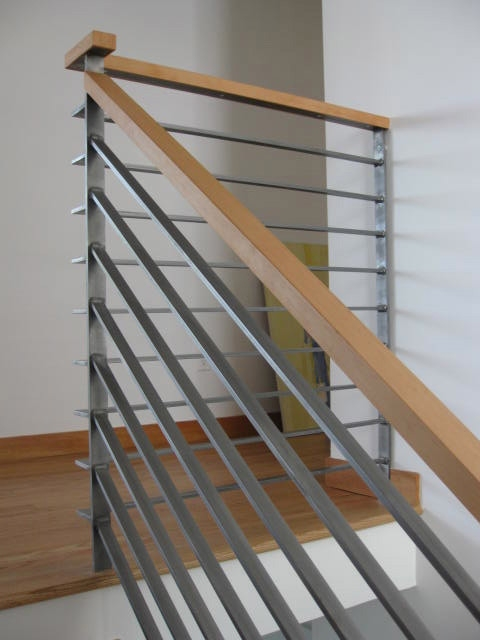 Modern Wood Railing Contemporary Staircase San Francisco | Modern Wood Stair Railing | Creative Outdoor Stair | Traditional | Indoor | Balustrade | Cherry Wood