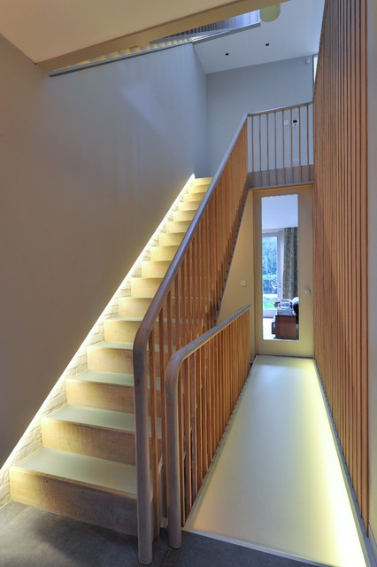8 Great Ways To Light Up Stairs   Wooden Stairs With Lights   Light Gray   Motion Sensor   Side   Glass   Backyard Wood
