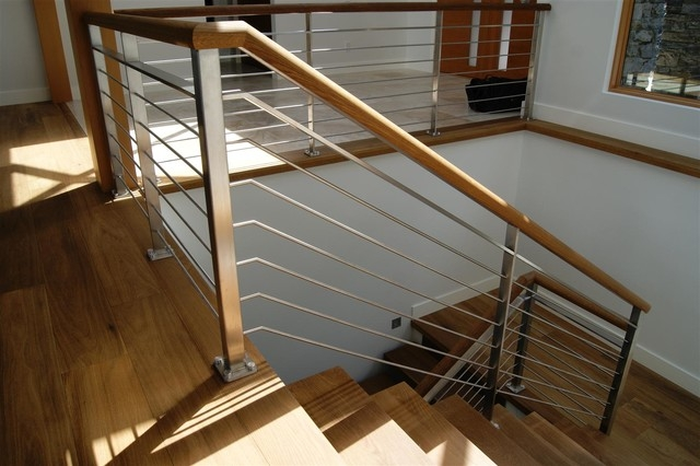 Oak Stainless Steel Interior Railing Contemporary Staircase | Metal And Wood Interior Railings | Contemporary | Art Craft | Black Glass Interior | Wood Cap | Metal Exterior Brown