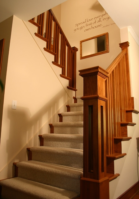 Prairie Style Ranch Remodel Staircase And Railing Detail   Mission Style Stair Railing   Modern   Metal Picket   Decorative Glass   Staircase   Bannister