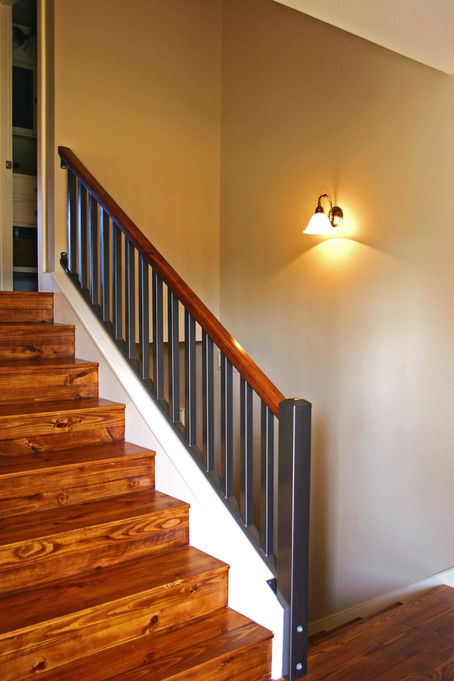 Split Level Stairs After Beach Style Staircase Austin By   Split Level Stair Railing   Electrical Conduit   Wood   Julia   Entryway   Tri Level