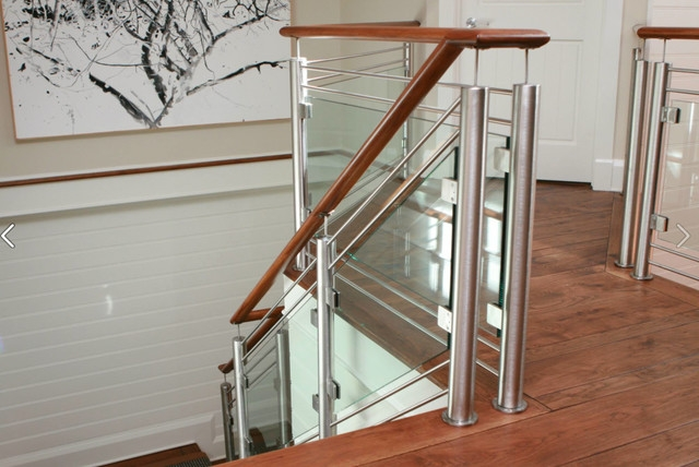 Stainless Steel Hickory And Glass Railing Contemporary   Stainless Steel Staircase Railing With Glass   Infill   Custom Glass   Indoor   Panel   Modern