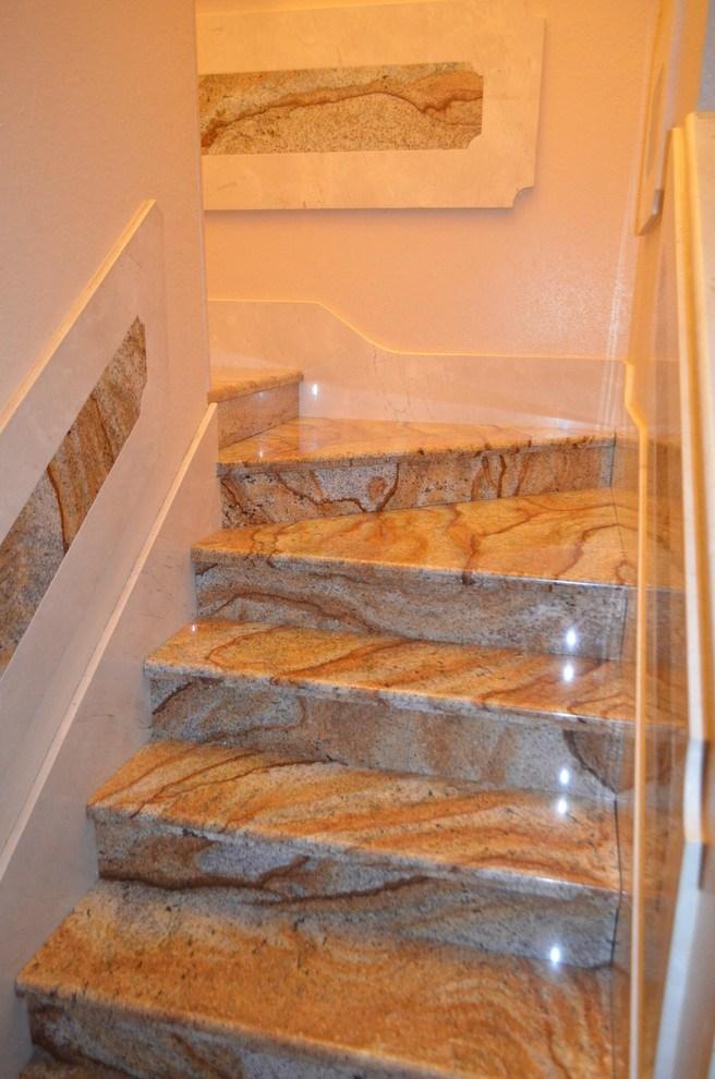 Stairs Marble Granite Mediterranean Staircase Tampa By | Stairs Design With Granite | Exterior | Single Moulding | Granite Skirting | Granite Ramp | Simple