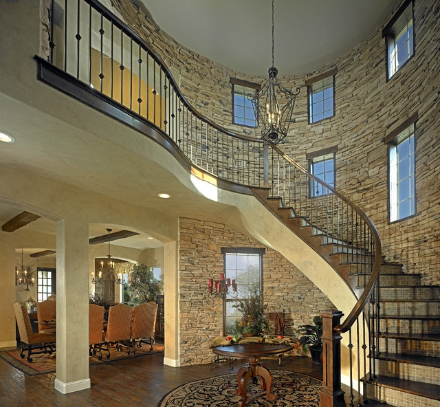 Stone Walls Traditional Staircase Dallas By Elements Of Design | Staircase Side Wall Designs Tiles | Decorative | Unusual | Wall Painting | Front House | Modern