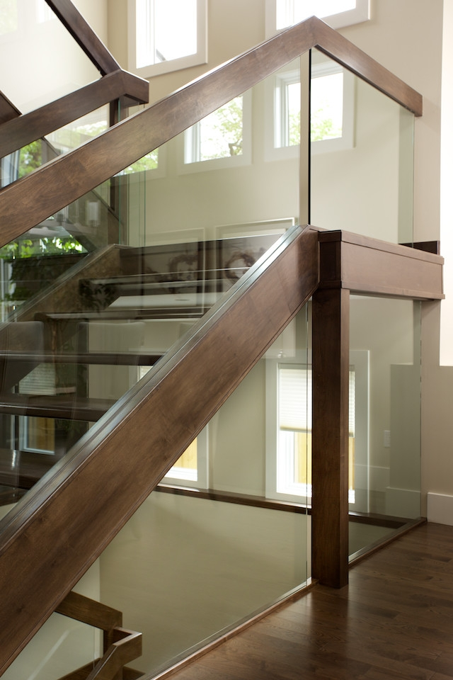 Straight Maple Stair With Glass Panel Railing Contemporary | Stair Railing Glass Panel | Tempered Glass | Wood | Stainless Steel Railing Systems | Base Shoe | Aluminum