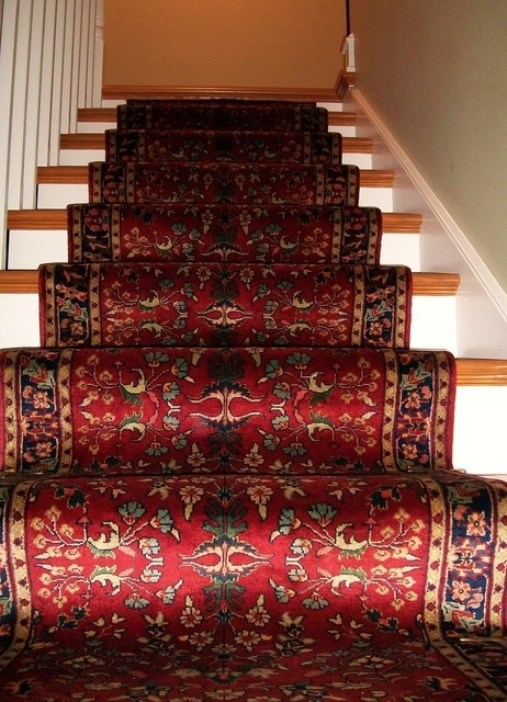 Traditional Hand Knotted Stairway Runner Traditional Staircase   Oriental Rug Runners For Stairs   Design Stair   Basement Stairs   Area Rugs   Bucks County   Salem Ma