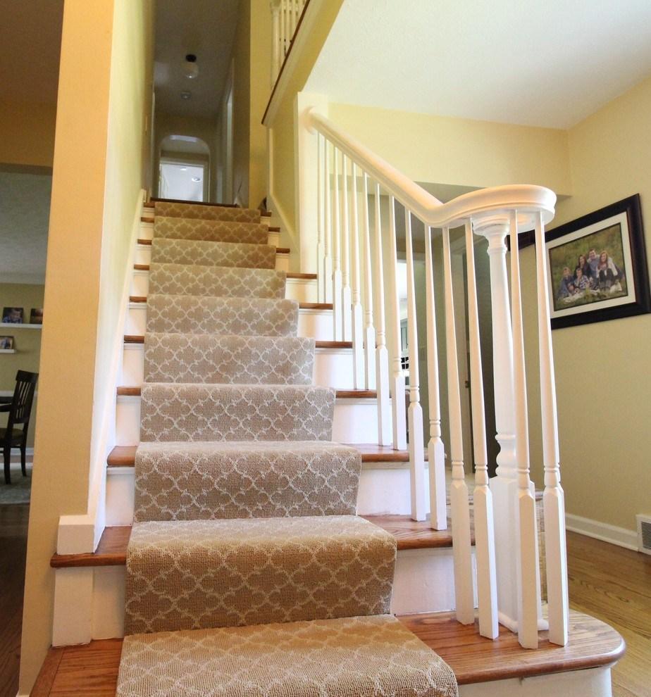 Transitional Farmhouse Custom Stair Runner Transitional | Custom Carpet Runners For Stairs | Wood | Stair Treads | Landing | Carpet Workroom | Flooring