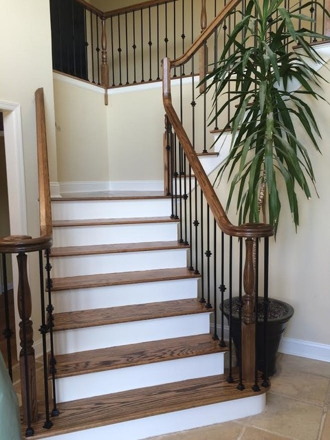 Two Tone Stairs Traditional Staircase New York By Wood | Two Tone Wood Stairs | Timber | Partially Carpeted | White Back | Diy | Rug