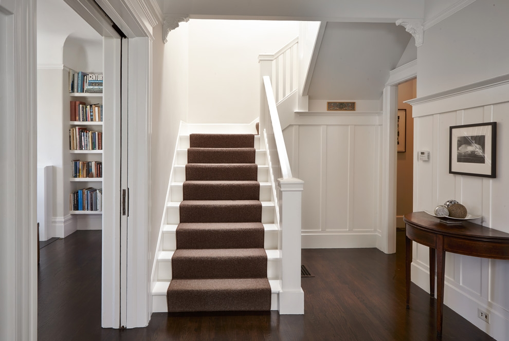 White Staircase With Carpet Runner Traditional Staircase San | Painted Stairs With Carpet | Middle | Design | Diamond Pattern | Victorian | Laminate