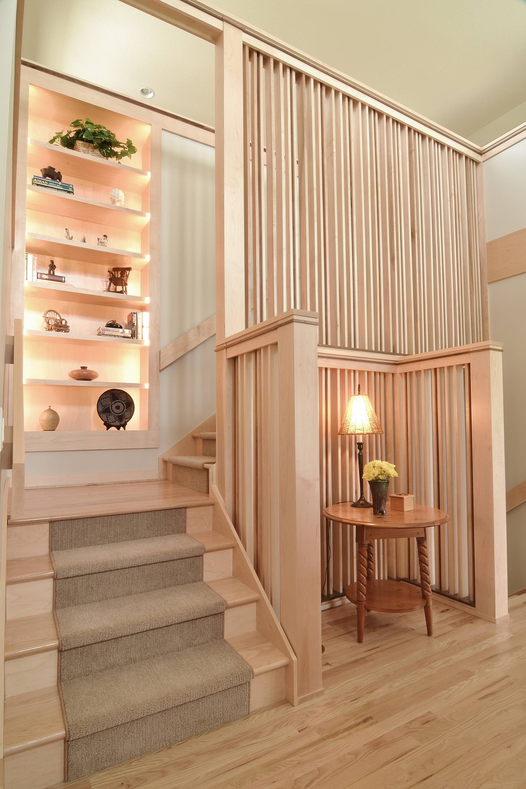 Stair Partition Houzz   Partition Of Stairs In Living Room   Lobby   Storage   Open Plan   Divider   Wood Paneling