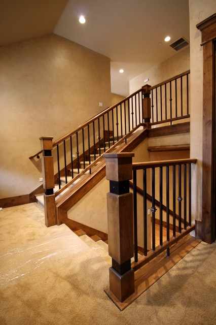 Wood Railing With Wrought Iron Balusters American Traditional | Iron And Wood Railing | Modern | Brown | Front | Horizontal | Craftsman