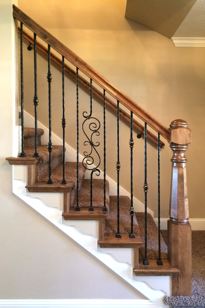 Wood Railing With Wrought Iron Balusters Traditional Staircase | Stair Posts And Spindles | Stairway | Newel Post | Inexpensive | Rectangular | Railing