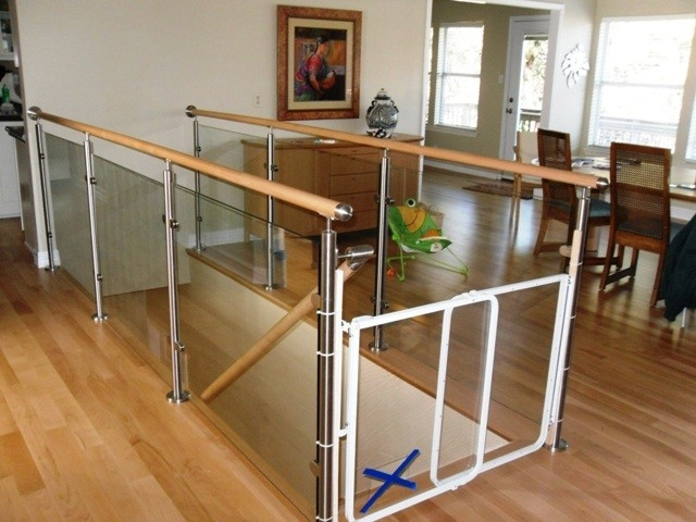 Wood Stairs And Stainless Steel Glass Railings Contemporary   Stair Railing Wood And Steel   Stair Inside   Baluster   Tall Stair   Indoor Stair   Solid Wood