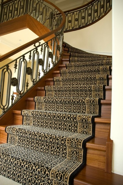 Wool Stair Runner American Traditional Staircase New York   Traditional Stair Carpet Runners   Bespoke   Patterned   Modern   Stair Landing   Dark Stain