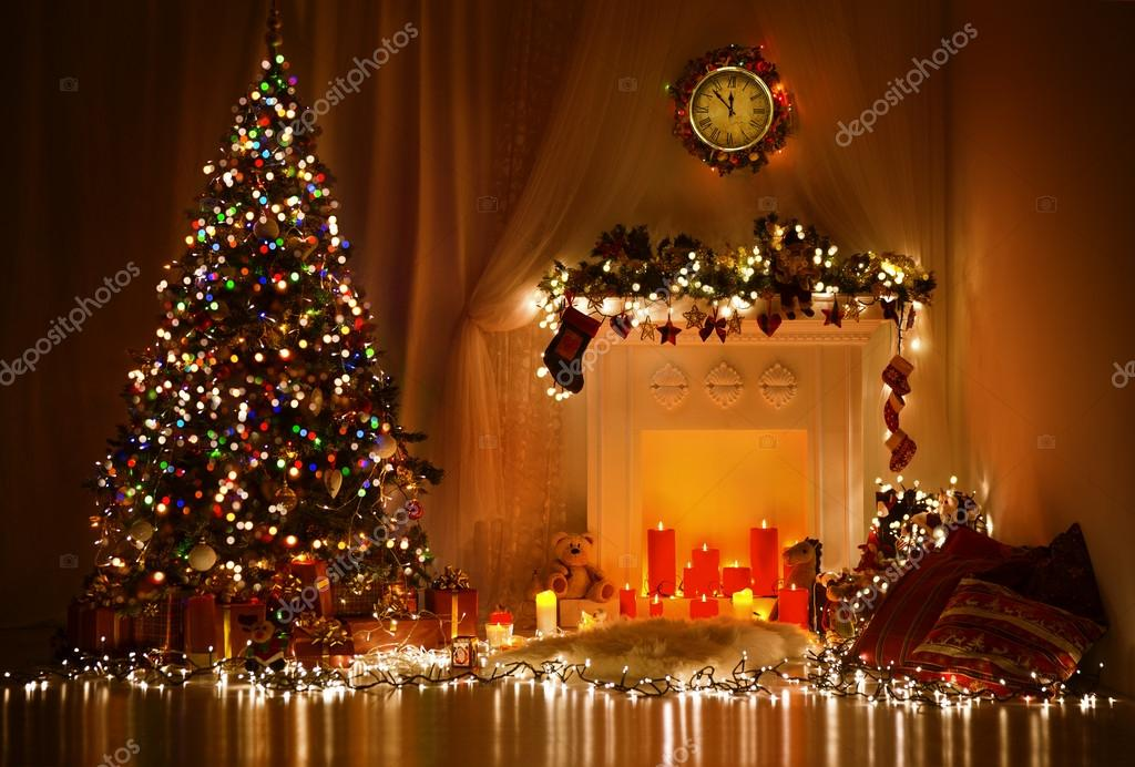 Christmas Room Interior Design  Xmas Tree Decorated By Lights     Christmas Room Interior Design  Xmas Tree Decorated By Lights Presents  Gifts Toys  Candles And Garland Lighting Indoors Fireplace     Photo by inarik