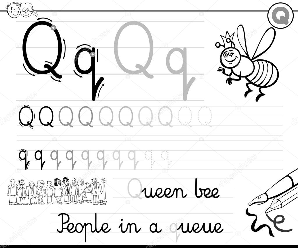 Le Rn To Write Letter Q Stock Vect © Iz Kowski 115880296