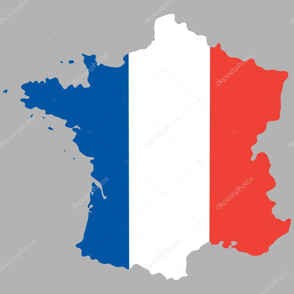 Map of France with an official national flag     Stock Vector     Map of France with an official national flag     Stock Vector