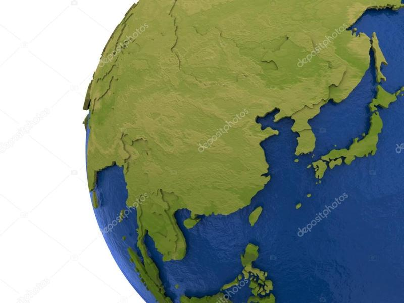 Asian continent on Earth     Stock Photo      tom griger  106312152 Asia on detailed model of planet Earth with visible country borders on  green land and waves on the ocean waters      Photo by tom griger