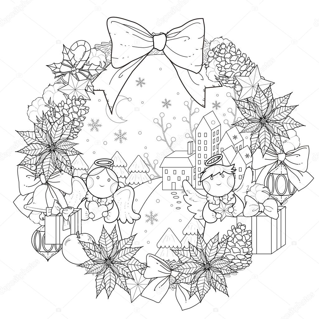 Christmas Wreath Coloring Page Stock Vector © Kchungtw 95582610