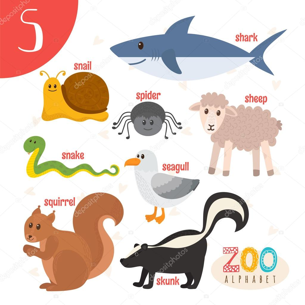 Image of: Dreamstime Letter S Cute Animals Funny Cartoon Animals In Vector Abc Boo Stockvector Depositphotos Letter S Cute Animals Funny Cartoon Animals In Vector Abc Boo
