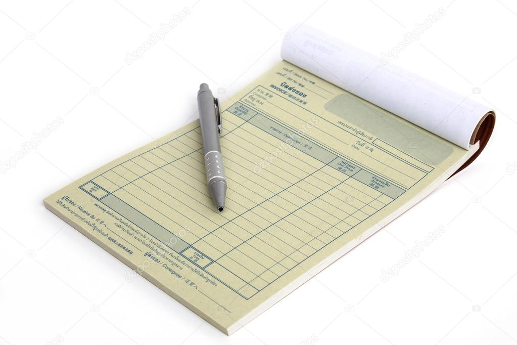 invoice book with open blank page and pen     Stock Photo     Invoice book with open blank page and pen     Stock Photo
