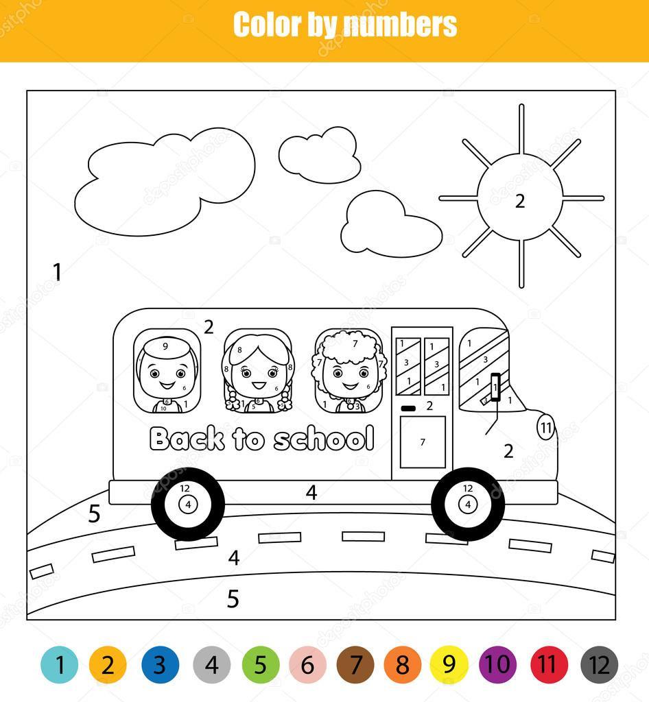 Coloring Page With Kids In School Bus Color By Numbers Children
