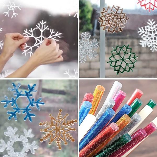Hot glue snowflakes for window decoration photo