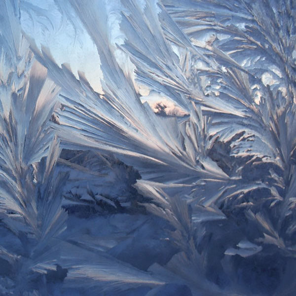 Frosty patterns on the window of the water of Magnesia and gelatin photo