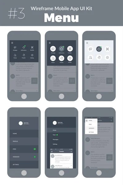 Wireframe Kit Mobile Phone Mobile App Design New Profile Walkthrough     Wireframe UI kit for mobile phone  Mobile App  Menu screens