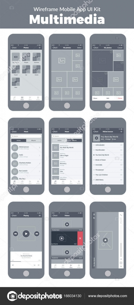 Modern Mobile Wireframe Adornment   Everything You Need to Know     Wireframe UI kit for mobile phone  Mobile App Multimedia  Photo